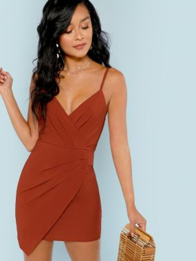 Мини-платье без рукава со складками