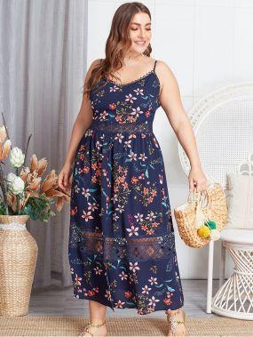 Платье на бретелях с цветочным принтом и кружевом размера плюс