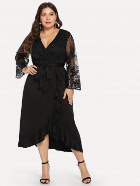 Плюс размеры платье с сетчатым рукавом с оборками