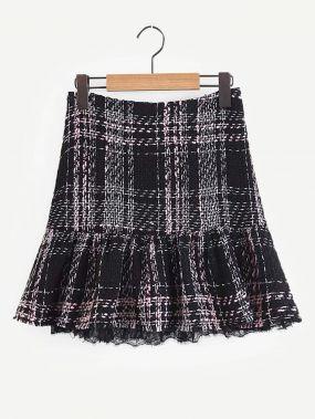Твидовая юбка в клетку с контрастными кружевами
