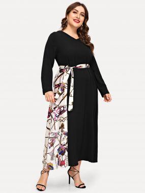Размера плюс платье с поясом и контрастным графическим принтом