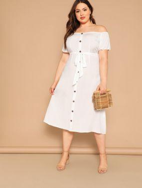Размер плюс платье с открытыми плечами и поясом