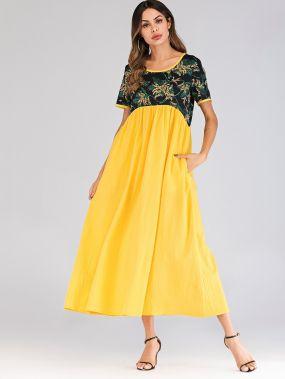 Длинное платье с невидимыми карманами и цветочным принтом