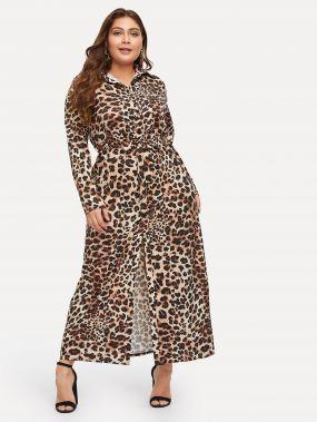 Размера плюс леопардовое длинное платье-рубашки
