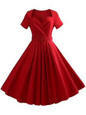 Красные с поясом Одноцветный Ретро Платья