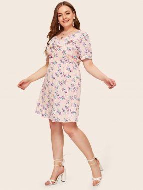 Платье с кружевом, оборкой и цветочным принтом размера плюс
