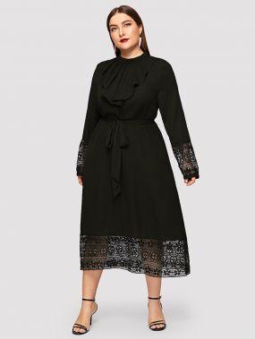 Размера плюс платье с поясом кружевным низом и оригинальным воротником