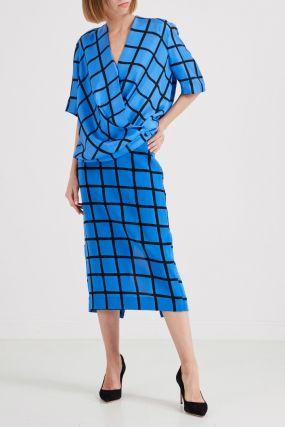 Шелковая юбка синего цвета