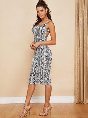 Платье с открытой спиной с принтом змеиной кожи