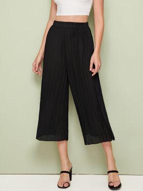 Широкие плиссированные брюки с эластичной талией