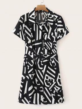 Чёрнобелые с поясом Геометрический принт Деловая одежда Платья