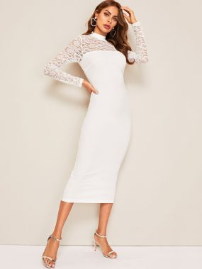 Облегающее кружевное платье с воротником-стойкой