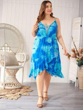 Разноцветное платье на бретелях с оборкой размера плюс