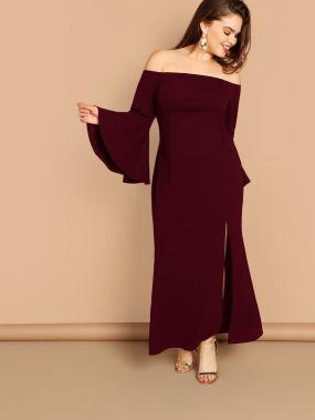 Размер плюс платье с оригинальным рукавом и разрезом