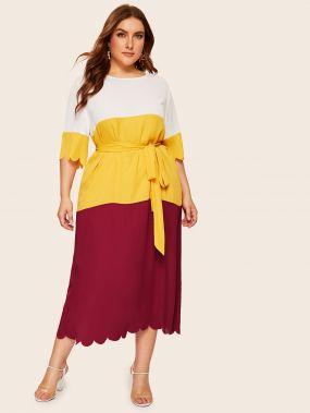 Размер плюс контрастное платье с фестончатым краем и поясом