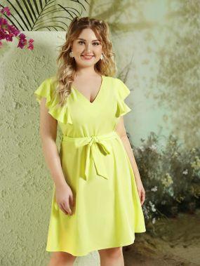 Однотонное платье размера плюс с оригинальным рукавом
