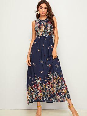 Длинное платье с цветочным принтом и оборками