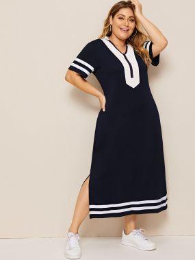 Полосатое платье с разрезом размера плюс