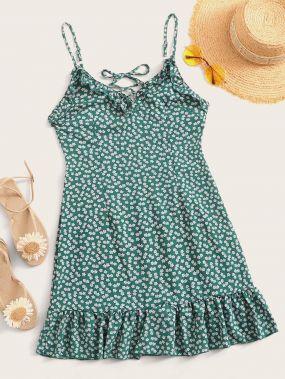 Платье с оборкой, узлом и цветочным принтом