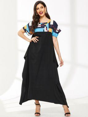 Длинное платье с красочными полосками