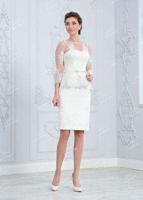 Белое платье с баской MR023B