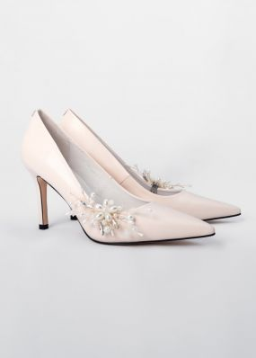 Светло-бежевые туфли на каблуке со съемной брошью TBB008-11SH