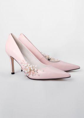 Светло-розовые туфли-лодочки на каблуках с брошью TBB009-14SH