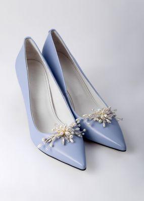 Сиреневые туфли на каблуке с брошью TBB007-08SH