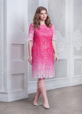 Кружевное розовое платье с эффектом макраме ND166B