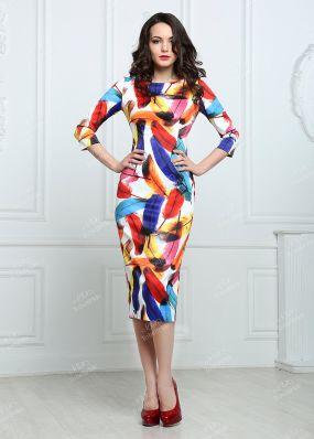 Атласное платье с длинными рукавами MR007B
