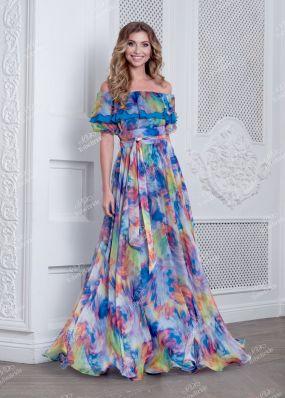 Шифоновое платье с длинной юбкой клеш ND135B