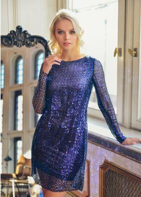 Мини-платье темно-синего цвета с пайетками NN062B