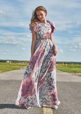 Длинное вечернее платье с оборками на рукавах TB059B
