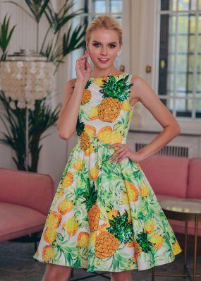 Шелковое платье с пышной юбкой без рукавов TB053B