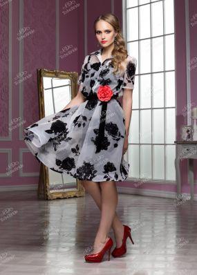 Черно-белое вечернее платье с розой на поясе ND118B