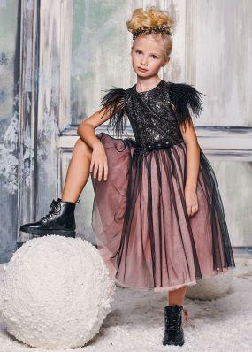 Платье из мягких пайеток с пышной юбкой BAB002D