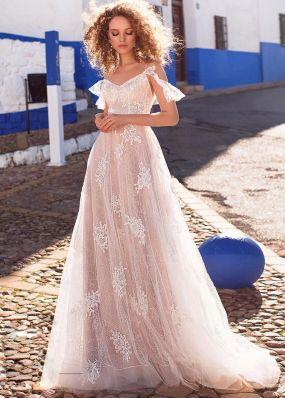 Свадебное платье из кружева на лямках SDV010