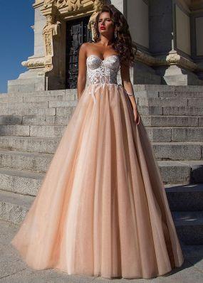 Свадебное платье цвета кофе с декольте SDV003