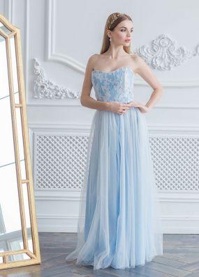 Нежно-голубое нарядное платье ZEL008