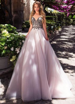 Цветное свадебное платье а-силуэта SDV007