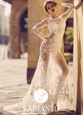 Прозрачное свадебное платье из кружева SDV020