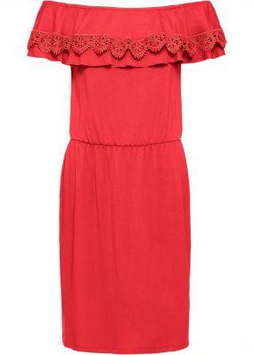 Платье из трикотажа с широким вырезом