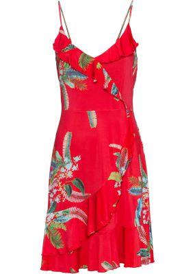 Платье с воланами и цветочным принтом