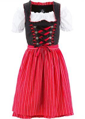 Короткое платье, блузка и фартук немецкого народного костюма
