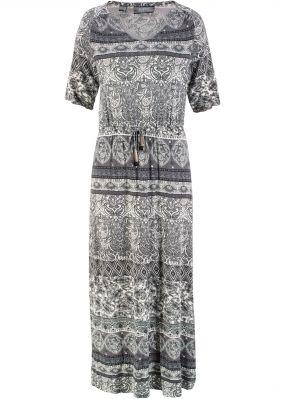 Макси-платье с V-образным вырезом и принтом