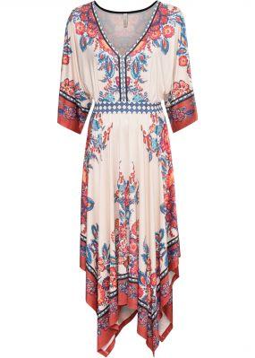 Платье с поясом в талии и принтом в стиле бохо