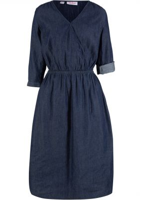 Платье из денима, рукав 3/4, эффект запаха