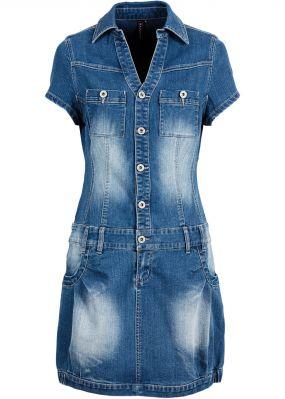 Джинсовое платье-баллон