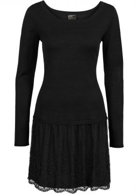 Платье с трикотажным верхом и кружевной юбкой