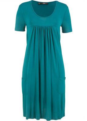 Трикотажное платье-блузон с коротким рукавом